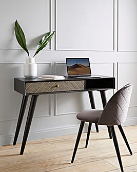 Sophia Acacia Desk with Concrete Effect Drawer