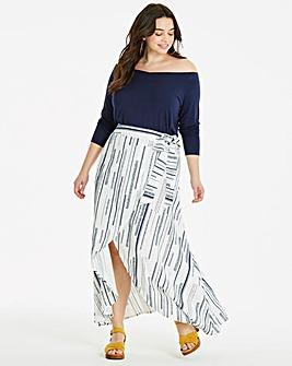 Ivory Print Mock Wrap Tie Waist Skirt