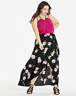 Black Floral Mock Wrap Tie Waist Skirt