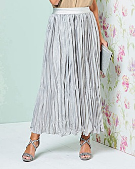 Metallic Pleat Maxi Skirt