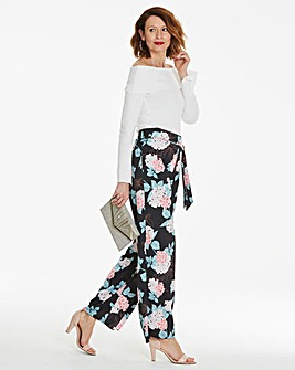 Black Print Wide Leg Satin Trouser