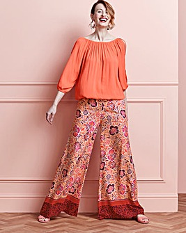 Border Print Superwide Leg Trousers