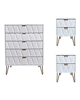 Remi Assembled 3 Piece Package - 5 Drawer Chest and 2 Bedside Tables