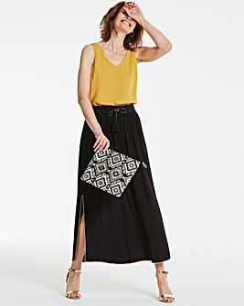 Beaded Trim Crinkle Maxi Skirt