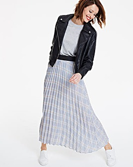 Check Sunray Pleat Maxi Skirt