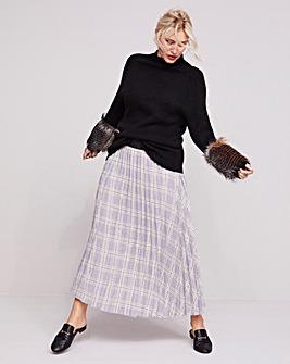 Grey Check Sunray Pleat Maxi Skirt