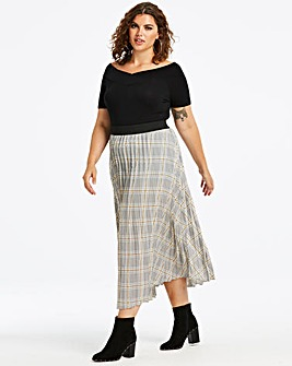 Check Sunray Pleat Maxi Skirt