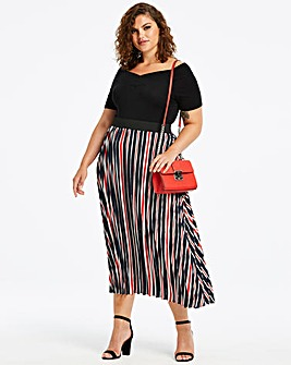 Navy Stripe Sunray Pleat Maxi Skirt