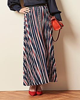 Navy Stripe Sunray Pleat Maxi Skirt