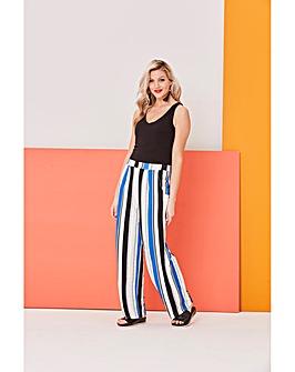 Stripe Wide Leg Jersey Trousers Short
