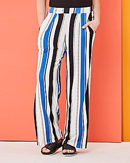 Stripe Wide Leg Jersey Trousers Reg