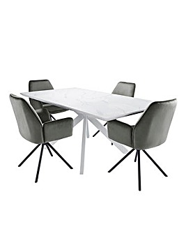 Alessia Large Rectangular Dining Table with 4 Lexington Chairs