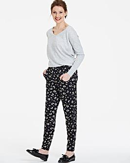 Petite Black Print Tapered Trousers