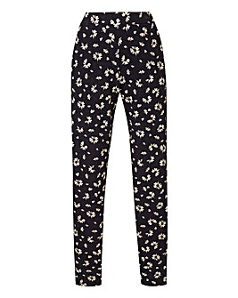 Petite Black Print Tapered Trousers