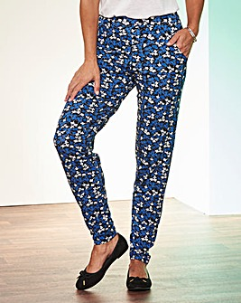 Black & Cobalt Print Tapered Trousers