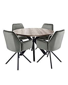 Austin Circular Dining Table with 4 Lexington Chairs