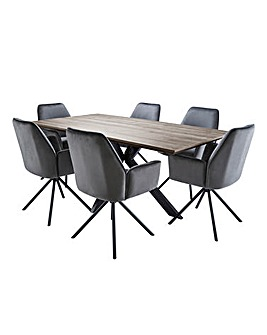 Austin Large Rectangular Dining Table with 6 Lexington Chairs