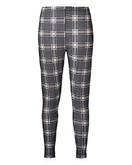 Grey & White Check Jersey Leggings