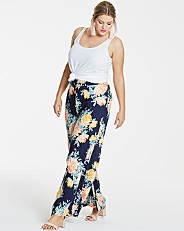 Navy Floral Superwide Leg Trousers