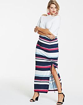 Navy Stripe Ruched Front Maxi Skirt