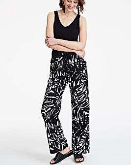 Pet Print Slouch Linen Mix Wide Trousers