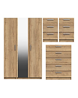 Lugo Assembled 4 Piece Bedroom Package (2xBedside, Wide Chest, 3 Door Wardrobe)