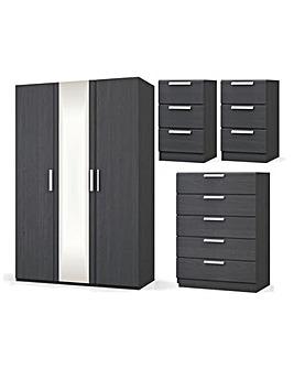 Lugo Assembled 4 Piece Bedroom Package (2xBedside, Wide Chest, 3 Door Wardrobe)