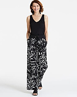Print Slouch Linen Rich Wide Trousers