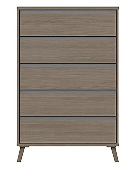Alba Assembled 5 Drawer Wide Chest