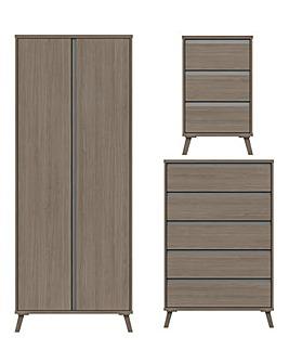 Alba Assembled 3 Piece Bedroom Package (Bedside, Wide Chest, 2 Door Wardrobe)
