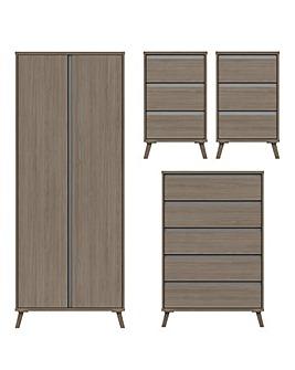 Alba Assembled 4 Piece Bedroom Package (2xBedside, Wide Chest, 2 Door Wardrobe)