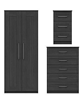 Warwick Assembled 3 Piece Bedroom Package (Bedside, Wide Chest, 2 Door Wardrobe)
