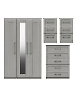 Warwick Assembled 4 Piece Bedroom Package (2xBedside, Chest, 3 Door Wardrobe)