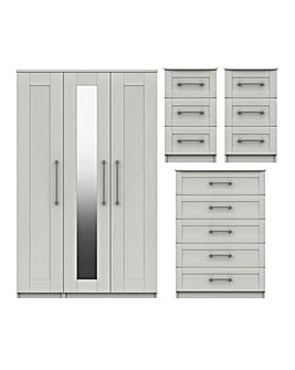 Warwick Assembled 4 Piece Bedroom Package (2xBedside, Chest, 3 Door Wardrobe)