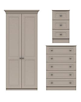 Harpenden Assembled 3 Piece Bedroom Package (Bedside, Chest, 2 Door Wardrobe)