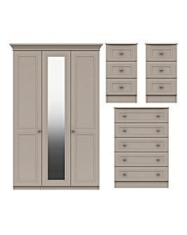 Harpenden Assembled 4 Piece Bedroom Package (2xBedside, Chest, 3 Door Wardrobe)