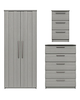 Newport Assembled 3 Piece Bedroom Package (Bedside, Wide Chest, 2 Door Wardrobe)
