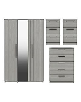 Newport Assembled 4 Piece Bedroom Package (2xBedside, Chest, 3 Door Wardrobe)