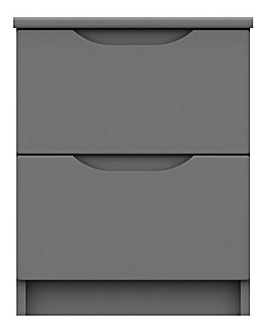 Sorrento High Gloss Assembled 2 Drawer Bedside Table