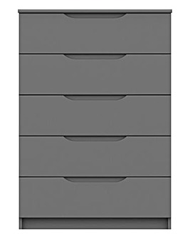 Sorrento High Gloss Assembled 5 Drawer Wide Chest