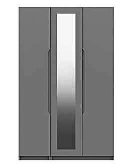 Sorrento High Gloss 3 Door Wardrobe with Mirror