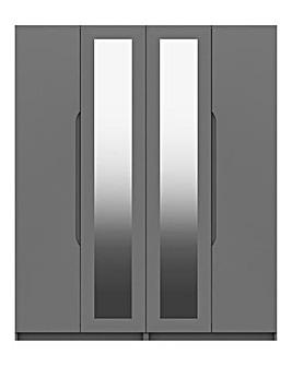 Sorrento High Gloss 4 Door Wardrobe with Mirror