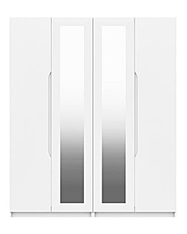Sorrento High Gloss 4 Door Wardrobe with Mirror