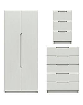 Sorrento High Gloss 3 Piece Bedroom Package (Bedside, Chest, 2 Door Wardrobe)
