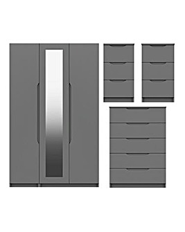 Sorrento High Gloss 4 Piece Bedroom Package (2xBedside, Chest, 3 Door Wardrobe)