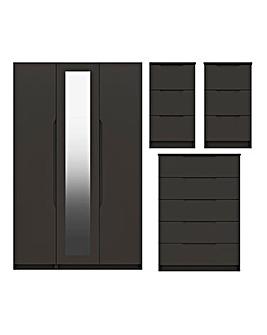 Sorrento High Gloss 4 Piece Bedroom Package (2xBedside, Chest, 3 Door Wardrobe)
