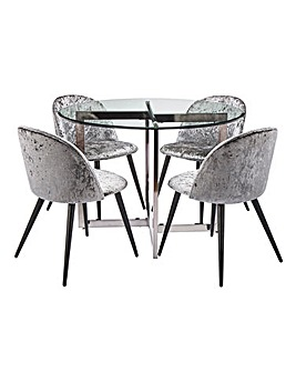 Orion Circular Dining Table with 4 Palazzo Dining Chairs