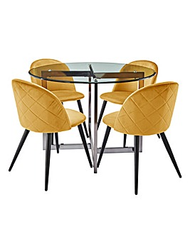 Orion Circular Dining Table with 4 Klara Dining Chairs