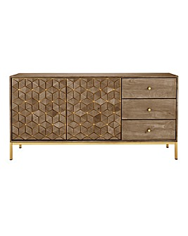 Zahara Assembled Mango 2 Door 3 Drawer Sideboard