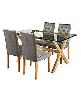 Wellington Table & 4 Grace Velvet Chairs